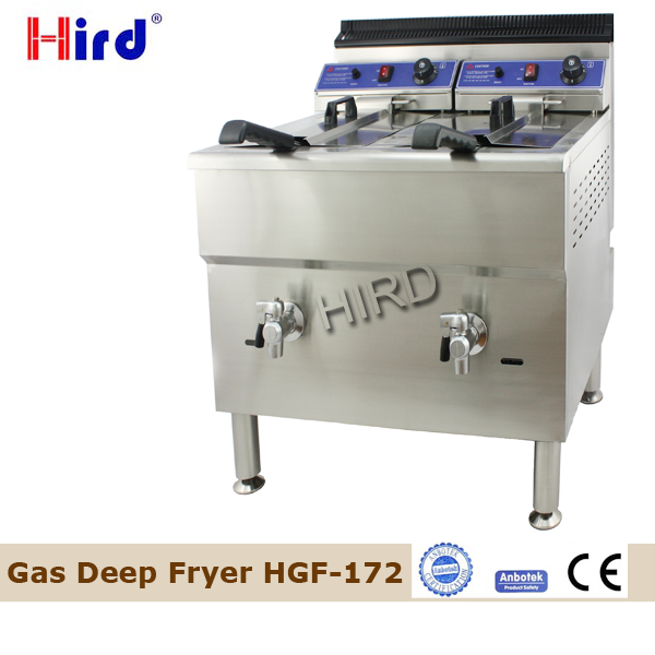 Floor Standing Gas Fryer Two Tank Gas fryer Twin Baskets